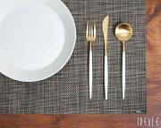 クチポール ホワイトマットゴールド デザート デザートナイフ・デザートフォーク・デザートスプーン ブラッシュド