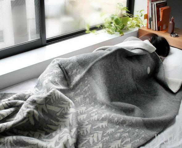 クリッパン(KLIPPAN)×ミナ ペルホネン(mina perhonen) 225101 ウールシングルブランケット ハウスインザフォレスト 130×180cm グレー(グレイ) [送料無料]【毛布】【あす楽対応】