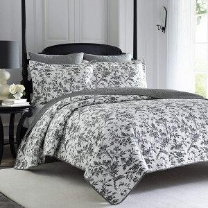 【5%オフクーポン発行中】ローラアシュレイ【シングル】Amberley Cotton Quilt Set ブラックフラワー ベッドキルトセット マルチカバー キルト 寝具 ベッドカバー ピロケース
