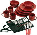 キャンプ用食器セット コールマン 24ピース エナメル テーブルウェアセット Coleman Dinnerware Set (Red) おうち時間 ステイホーム