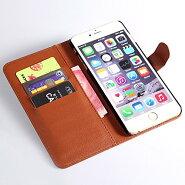 送料無料でお届け!!iPhone6plus対応:カード収納、スタンド機能付きの万能な手帳型液晶保護カバーフィルム付きアイフォン6プラス対応手帳型フェイクレザーケース