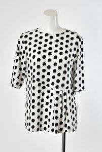 Se ninon 日本製 七分袖 チュニック丈ブラウス Tシャツ 水玉柄 ドット柄ブラウス 裾デザイン レディース ミセス 春夏