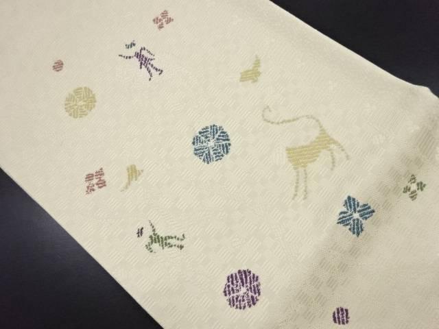 20%オフ 【IDN】 橋本テル織物製 抽象人物に象・猿模様織り出し袋帯(未仕立て)【新品】【着】:アイディーネット