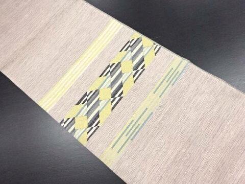 【IDN】 明綴れ幾何学模様織り出し袋帯【リサイクル】【中古】【着】