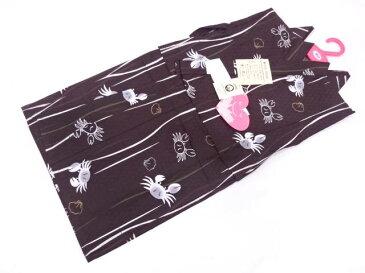 【IDN】 童くらぶ 蟹に貝模様男児浴衣(90センチ)(こげ茶)【新品】【着】