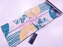 ブランド浴衣女性凪変わり織縞に桜・番傘模様浴衣