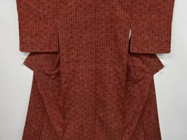 【IDnet】 幾何学模様織り出し手織り真綿紬着物【リサイクル】【中古】【着】