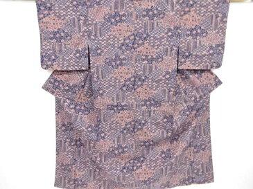 【IDnet】 切りばめ風花・古典柄手織り紬着物【リサイクル】【中古】【着】