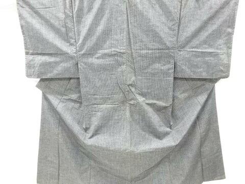 【IDnet】 縞模様織り出し手織り真綿紬男物着物【アンティーク】【中古】【着】