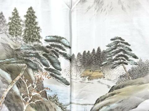 【IDnet】 松に家屋風景模様肩裏手織り真綿紬男物羽織【アンティーク】【中古】【着】
