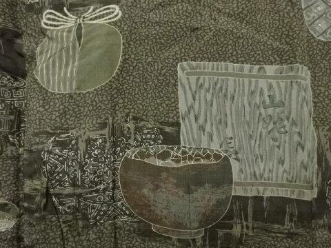 【IDnet】 茶碗に仕覆模様肩裏手織り紬男物羽織【アンティーク】【中古】【着】