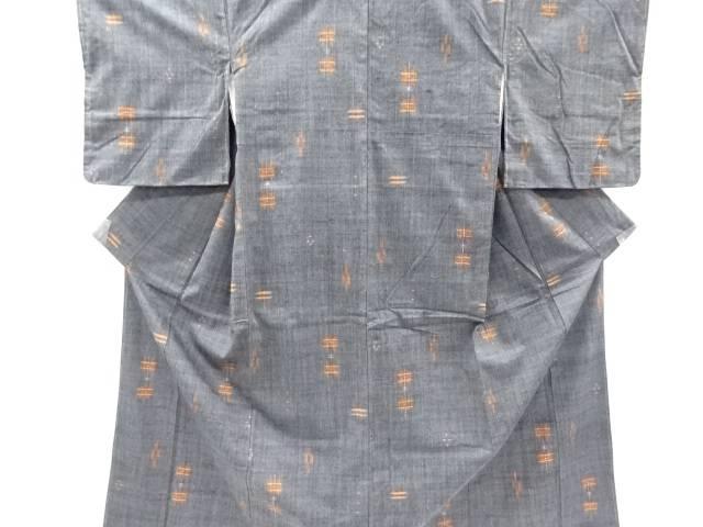 【IDnet】 井桁絣模様織り出し手織り真綿紬着物【リサイクル】【中古】【着】