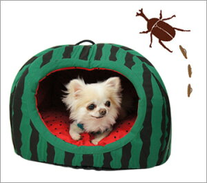 キュートなスイカのドーム型ベッドふかふかベッドでぐっすりオヤスミ…iDog&iCat ウキウキすい...