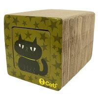 【猫】【つめとぎ】iCatアイキャットオリジナル飛び出すつめとぎネコトンネル。裏面はカーキの星柄にクロネコ柄
