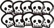 AtlaGirls SKULLステッカー10枚セット(White) ステッカー シール ホワイト 白 しろ スカル 骸骨 がいこつ 髑髏 どくろ スノーボードステッカー アトラガールズ バースデー 誕生日 ギフト プレゼント【メール便送料無料】