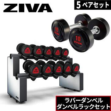 ダンベルラック ラバーダンベル 5ペア ラックセット ダンベルホルダー ZIVA ジーヴァ フリーウエイト トレーニング 2.5kgきざみ アレンジ可能 業務用 家庭用