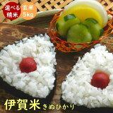 伊賀米キヌヒカリ 令和元年産 三重県伊賀産 玄米5kg |米ぬか無料 精米無料 白米 無洗米 3分づき 5分づき 7分づき 胚芽米|