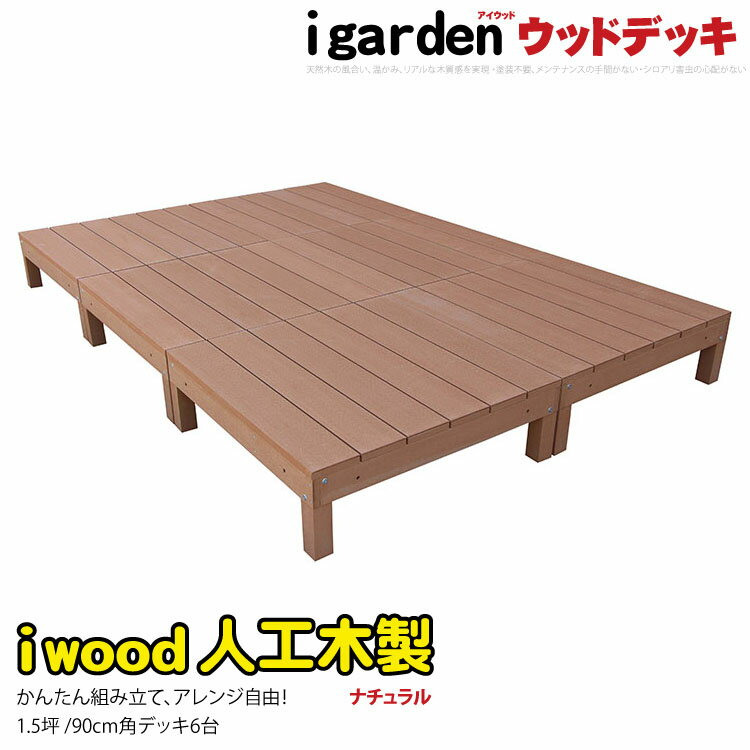 ウッドデッキ ナチュラル 6点セット アイウッドデッキ オープンデッキ 1.5坪 樹脂木 人工木 木製デッキ 縁台【RCP】:igarden