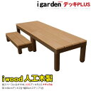 アイウッドデッキPLUS60系 2点 90ステップ1点セット ナチュラル アイガーデンオリジナル ウッドデッキ 人工木 樹脂 木製デッキ 樹脂木 木樹脂 セット 縁台 RCP 送料無料・・・