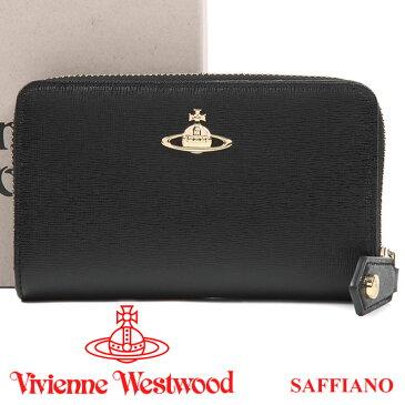 ヴィヴィアンウエストウッド 二つ折りラウンド財布 ヴィヴィアン Vivienne Westwood 財布 レディース メンズ ブラック 51080002 SAFFIANO BLACK 【あす楽】【送料無料】