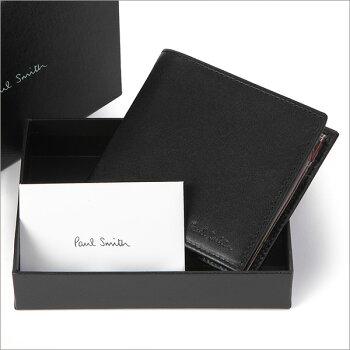 ポールスミス財布PaulSmith二つ折り財布(小銭入れあり)メンズブラック×マルチストライプAJXA/1033/W567B【楽ギフ_包装】【楽ギフ_メッセ】【02P01Sep13】【RCP】【あす楽】