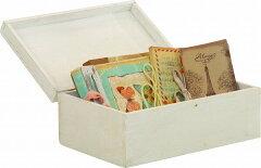 mokuシリーズ『 木製ボックス蓋付 』【IT】カラー:ホワイト(#9847140)、ブラウン(#9847150)サイズ:幅30.5×奥行20×高さ12.5cmアンティーク 雑貨 小物 ダメージ加工 家具 収納 ラック フレンチカントリー調