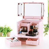 コスメボックス 三面鏡 メイクボックス,化粧ボックス メイク コスメボックス バニティー,パステルカラー ベビーピンク