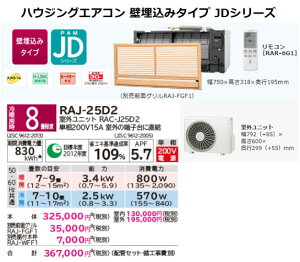 β日立マルチエアコン【RAJ-25D2】JDシリーズ8畳程度