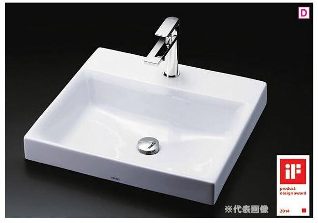 ###TOTO カウンター式洗面器 セット品番【LS717C #NW1+TLCF31E1】ホワイト 角形洗面器 ベッセル式 台付シングル混合水栓(エコシングル) 壁排水金具(Pトラップ):あいあいショップさくら