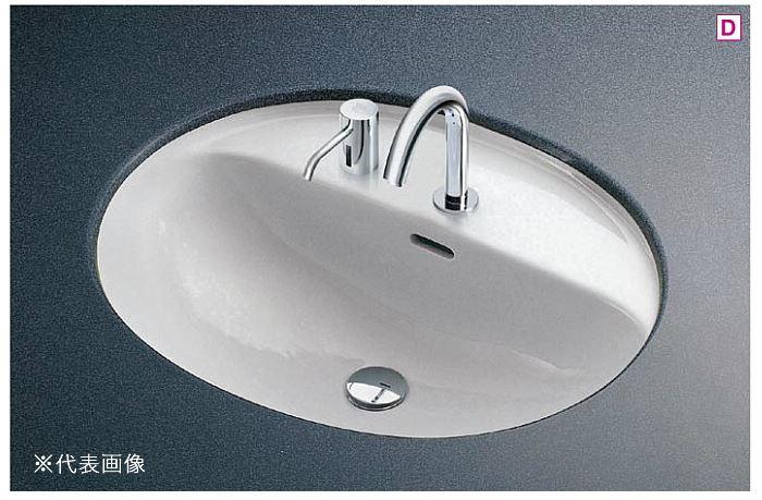 ###TOTO カウンター式洗面器 セット品番【L582CMS+TENA12A】楕円形洗面器 アンダーカウンター式 台付自動水栓(単水栓) 壁排水金具(Pトラップ):あいあいショップさくら