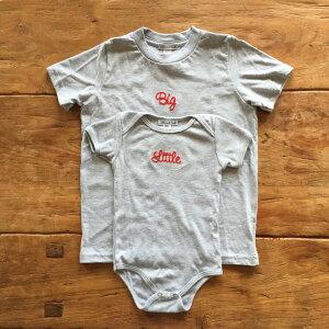 2人姉妹兄弟でお揃い/出産祝いギフトセット/ロンパース+Tシャツ2枚組/Little×Big【出産祝い プレゼント】【楽ギフ_包装】