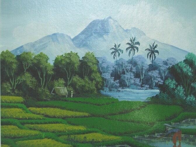 農村風景 BAF011 バリ絵画
