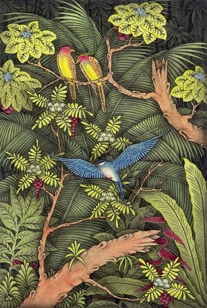 バリ細密画南国の森に遊ぶ3羽の鳥