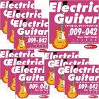 """あす楽 新品 即納可能 Ikebe Original Electric Guitar Strings """"イケベ弦 エレキギター用 009-042"""" [Super Light Gauge/IKB-EGS-0942]×10セット 【超お買い得セット販売】"""