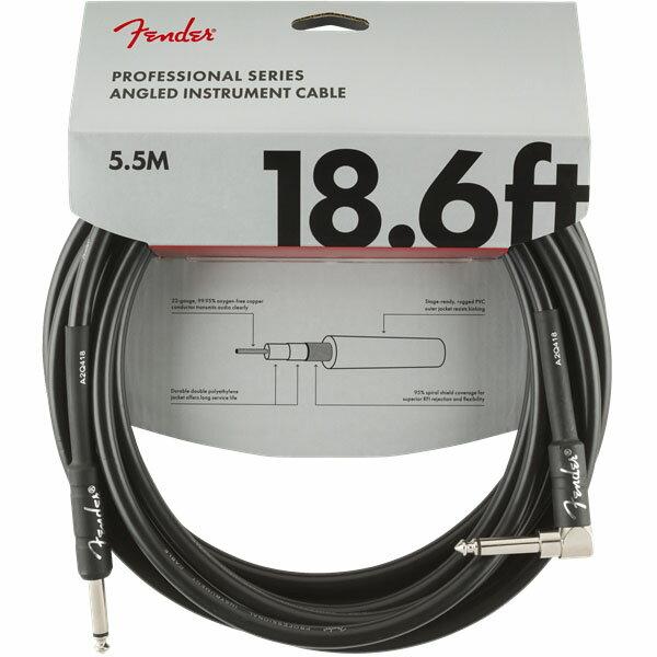ケーブル, シールドケーブル Fender Professional Series Instrument Cable StraightAngle 18.6 (Black)