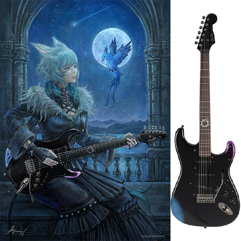 ギター, エレキギター Fender FINAL FANTASY XIV Stratocaster (Black) Made in Japan ikbp5 VOX Pathfinder10