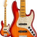 Fender American Ultra Jazz Bass V Ash (Plasma Red Burst/Maple) [Made In USA] 【ikbp5】