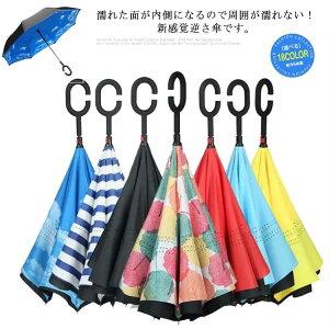 送料無料 長傘 レディース メンズ 逆さ傘 撥水 内外2枚の布の構成 丈夫 耐風 晴雨兼用 防水UVカット 日焼け止め C型 内側 逆向き 逆さまの傘 車用 メンズ用 遮光遮熱