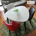 カフェテーブルセット 三角テーブル エスプレッソ | 三角形 ホワイト 鏡面 白 ダイニングセット 回転椅子 カフェ風 ダイニングテーブルセット 木製 汚れにくい おしゃれ 人気 送料無料