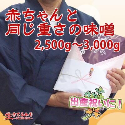 赤ちゃんと同じ重さの味噌2500g〜3000g