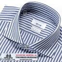 【SALE/返品・交換不可】ジャンジ GIANGI / THOMAS MASONコットン120番手双糸ポプリンストライプホリゾンタルワイドカラーシャツ「ROMA」(ブルー×ホワイト)/ メンズ イタリア ドレスシャツ ビジネスシャツ ワイシャツ