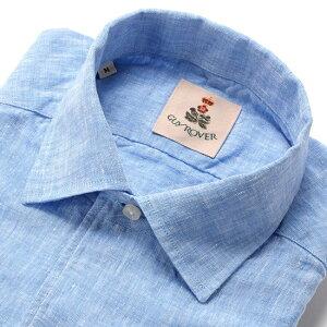 【ポイント10倍】【SALE】ギローバー GUY ROVER / 20SS!製品洗いリネンポプリンイタリアンカラーシャツ「GR193LJ」(サックスブルー)/ メンズ イタリア クールビズ 麻シャツ リネンシャツ 無地