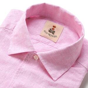 【SALE】ギローバー GUY ROVER / 20SS!製品洗いリネンポプリンイタリアンカラーシャツ「GR193LJ」(ピンク)/ メンズ イタリア クールビズ 麻シャツ リネンシャツ 無地