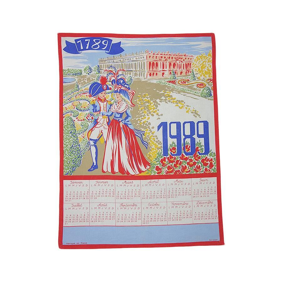 產品詳細資料,日本Yahoo代標|日本代購|日本批發-ibuy99|興趣、愛好|藝術品、古董、民間工藝品|古董/古董|【中古】ルイ16世とマリー・アントワネット ヴィンテージ ファブリック 布 カレンダー 1989年…