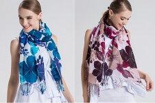 新色送料無料フランス天然亜麻リネン&コットン♪大きなフラワー花柄インパクト可愛い大判ストール・ショール♪ブルー・レッドP20Aug16