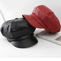 合皮 PU キャスケット 帽子 無地 レザーキャップ フェイクレザー キャスケット帽 ハンチング メンズ レディース CAP 1310