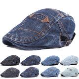 デニムハンチング帽子コットンキャップステッチ綿ハンチング帽キャスケットメンズレディースHUNTINGCAP7110