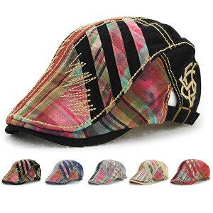 ビンテージ風 ハンチング 帽子 ステッチ加工 コットンキャップ カラフル 切り替え キャップ ハンチング帽 メンズ レディース HUNTING CAP 7119
