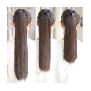 ポイントウィッグカールストレートリボン式ポニーテールエクステミディアムセミロング黒黒髪耐熱付け毛つけ毛ウイッグwigpoint003