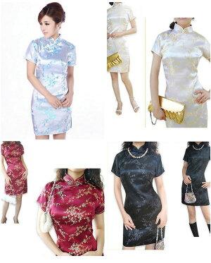 チャイナドレスミニパーティードレスチャイナドレスショートミニドレスチャイナ服大きいサイズ半袖梅柄花柄刺繍ショート丈コスプレ衣装セクシーChinaDress1008